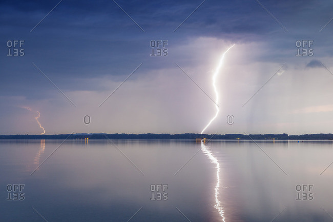 Lightning in the thunderstorm over the Chiemsee, Seebruck, Chiemgau, Upper Bavaria, Bavaria, southern Germany, Germany, Europe
