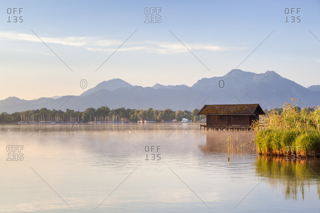 Shore of the Chiemsee in Prien, Chiemgau, Chiemgau, Upper Bavaria, Bavaria, Southern Germany, Germany, Europe