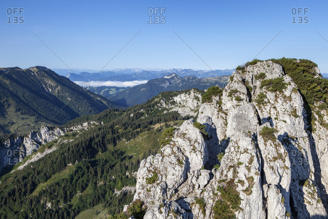 View from the summit of the Kampenwand into Chiemgau, Chiemgau Alps, Upper Bavaria, Bavaria, southern Germany, Germany
