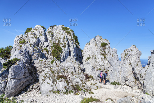 Rocks at the summit of the Kampenwand, Chiemgau, Chiemgau Alps, Upper Bavaria, Bavaria, southern Germany, Germany, Europe