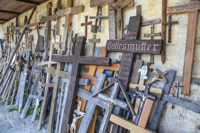 May 18, 2015: Wooden crosses at the pilgrimage church Maria Eck in Siegsdorf, Chiemgau, Upper Bavaria, Bavaria, Southern Germany, Germany, Europe