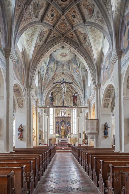 April 6, 2015: Monastery church St. Lambert of the Seeon monastery, Seeon-Seebruck, Chiemgau, Upper Bavaria, Bavaria, southern Germany, Germany, Europe