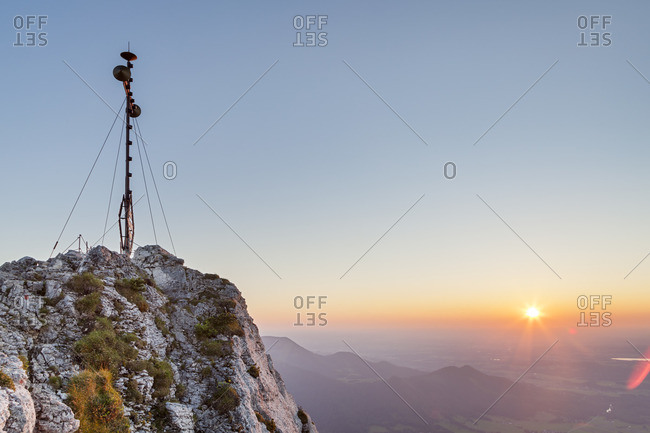 Summit of the Kampenwand (1669 m) at sunset, at Aschau, Chiemgau Alps, Chiemgau, Upper Bavaria, Bavaria, southern Germany, Germany, Europe
