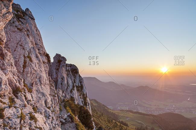 Sunset on the Kampenwand (1669 m), near Aschau, Chiemgau Alps, Chiemgau, Upper Bavaria, Bavaria, southern Germany, Germany, Europe