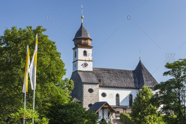 Pilgrimage church Maria Eck in Siegsdorf, Chiemgau, Upper Bavaria, Bavaria, Southern Germany, Germany, Europe