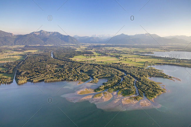 Flight over the Chiemsee with view of the delta of the Tiroler Ache, Chiemgau, Upper Bavaria, Bavaria, Southern Germany, Germany, Europe