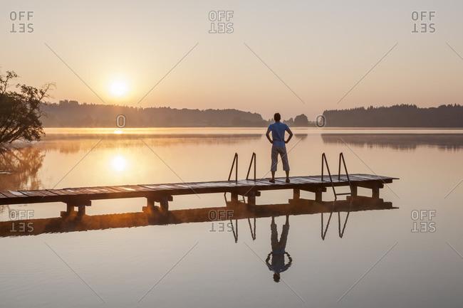 Sunrise at the Pelhamer lake in the Eggstatter-Hemhofer Seenplatte, Eggstatt, Chiemgau, Upper Bavaria, Bavaria, southern Germany, Germany, Europe