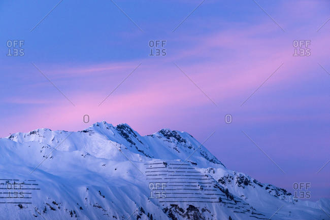 Austria, Montafon, St. Gallenkirch, Austria, Montafon, St. Gallenkirch, mountain range in the sunset.