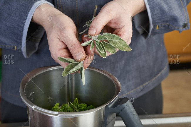 Photo series, step-by-step preparation of a leg of lamb stuffed with herbs and Provençal vegetables by using a food processor , preparing the herb filling