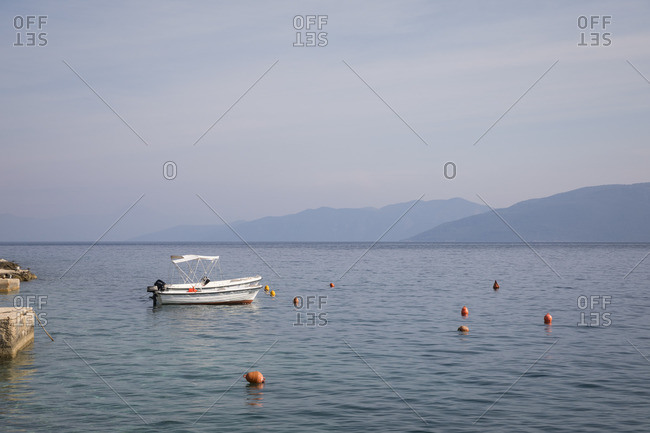 May 27, 2018: Small boats in the harbor of Valun, Island of Cres, Kvarner Bay, Croatia
