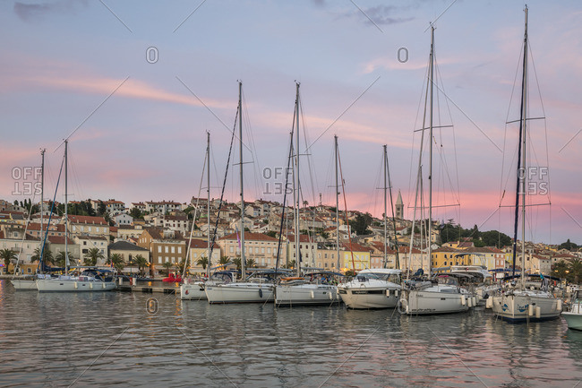 May 24, 2018: Evening mood, harbor of Mali Losinj, Losinj Island, Kvarner Bay, Croatia
