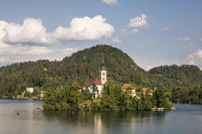 Baroque church on Bled Island, Bled, Julian Alps, Upper Carniola, Slovenia