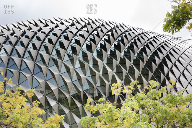 February 19, 2017: Singapore, Esplanade, domed roof with aluminum shades and glass, detail