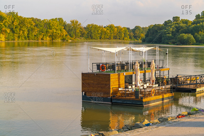 Szentendre restaurant boat or club on the river of Danube with forest