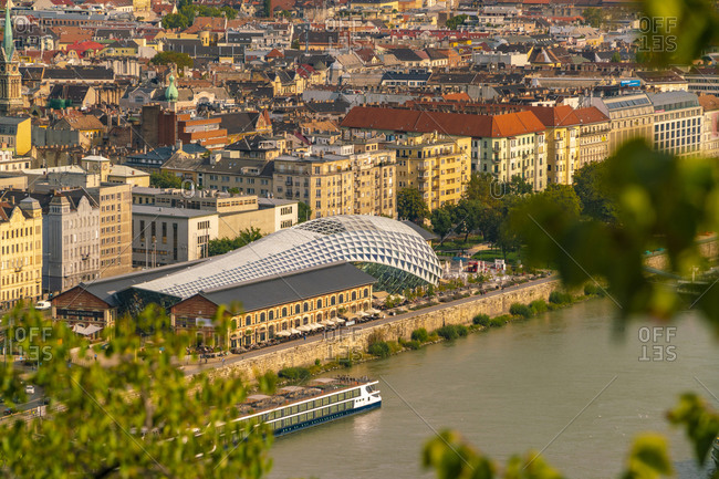 Budapest, Hungary - September 26, 2017: New budapest gallery whale shaped seen from Buda castle