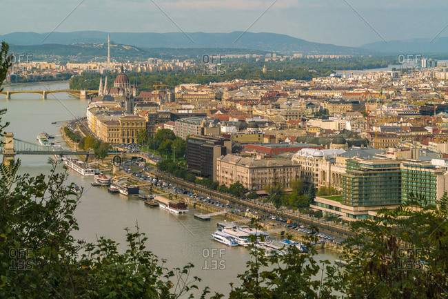 Budapest, Hungary - September 26, 2017: View of the Danube and the eastern part of Budapest, pest in summer
