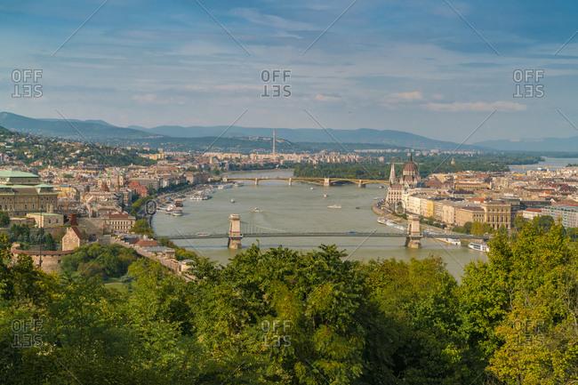 View of Chain Bridge, castle, Parliament palace and Margaret bridge