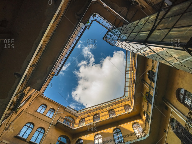 View of a historic yard in Budapest towards the sky