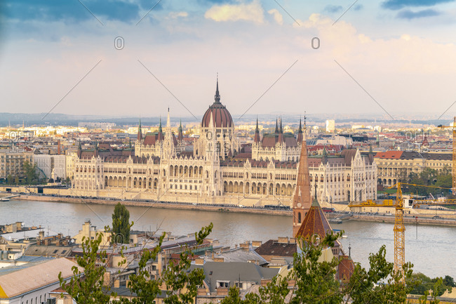 Budapest, Hungary - September 24, 2017: The Parliament's Palace and danube seen from Fisherman's bastion