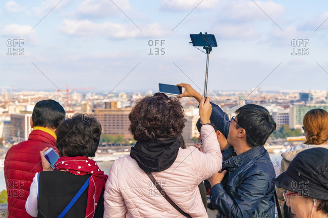 Budapest, Hungary - September 24, 2017: Asian tourists taking images of Budapest from the Buda castle