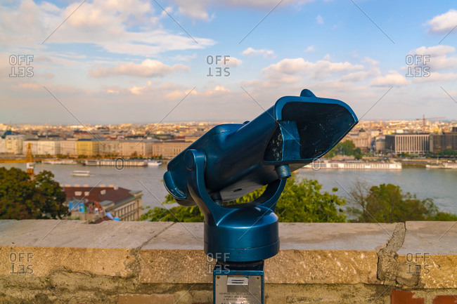 Budapest, Hungary - September 24, 2017: Touristic telescope at Buda castle in Budapest