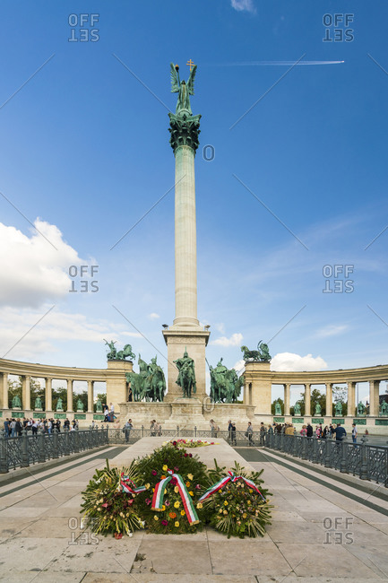 Budapest, Hungary - September 25, 2017: The Millennium Monument with blue sky and airplane in the sky
