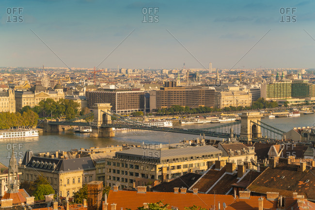 Budapest, Hungary - September 24, 2017: View of Budapest from the Fisherman's bastion