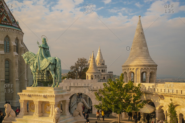 Budapest, Hungary - September 24, 2017: Fisherman's Bastion with St. Stephen Statue
