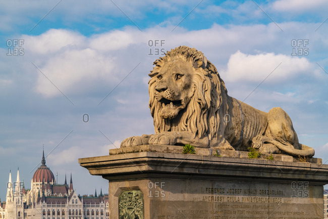 The lion from the chain bridge with the government palace in Pest