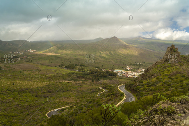 Mountain path at the south of Tenerife through the green mountains