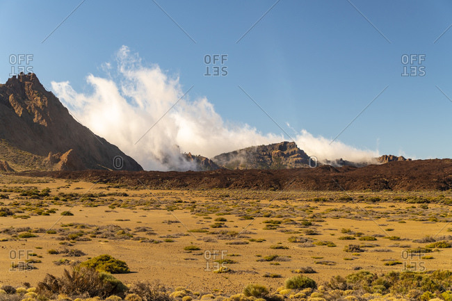 Teide national park with sand, cactus and red rock volcanic formation