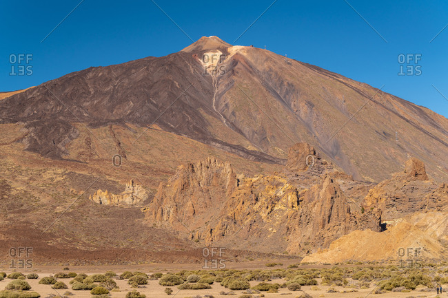 The peak of Mountain El Teide with the national park beneath it