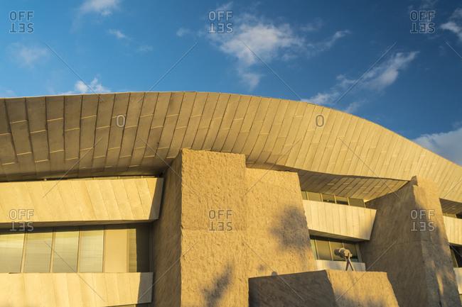 Costa Adeje, CN, Spain - December 16, 2016: Magma Art and Congress center in Costa Adeje in Tenerife with blue sky