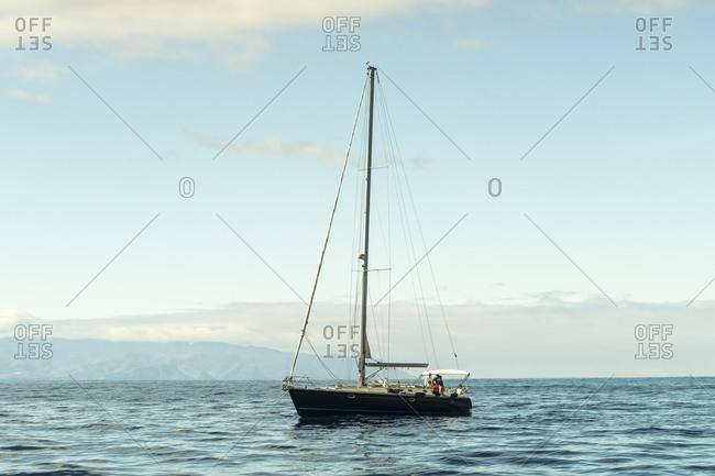 Vallehermoso, Santa Cruz de Tenerife, CN, Spain - December 16, 2016: Sailing boat at the atlantic ocean between La Gomera and Tenerife