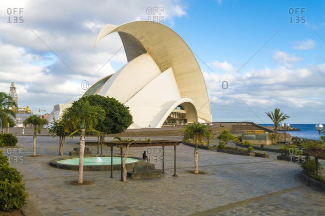Santa Cruz de Tenerife, CN, Spain - December 15, 2016: Park Maritime C�sar Manrique with Auditorio de Tenerife Adan Mart�n