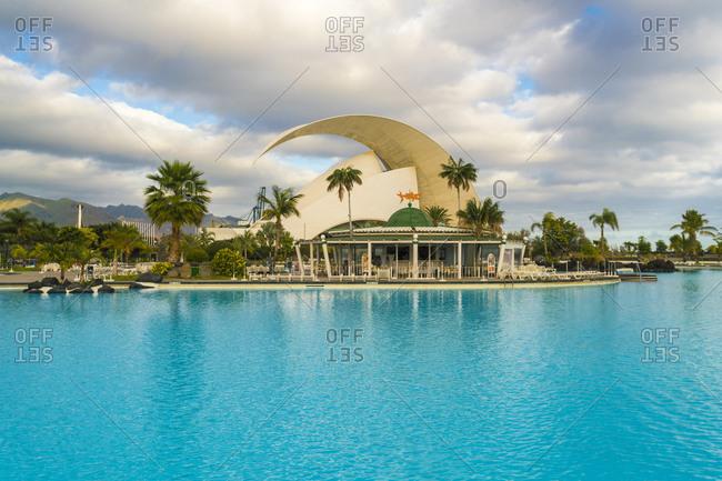 Santa Cruz de Tenerife, CN, Spain - December 15, 2016: Pool of Parque Maritime C�sar Manrique with