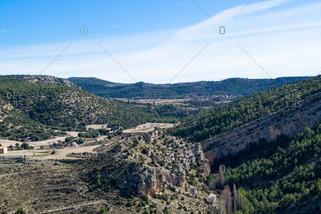 Landscape of mountains in the Valencian community, Spain
