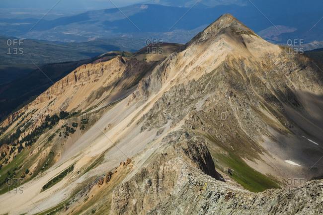 Heavily eroded ridges below Capitol Peak, Elk Mountains, Colorado