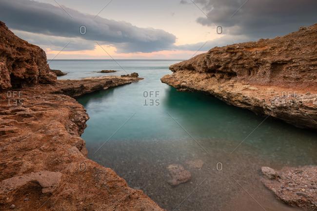 Evening seascape taken on Atherina beach near Goudouras village, Crete