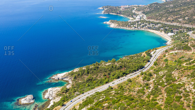 Aerial view at the beach. Beautiful natural seascape at the sum