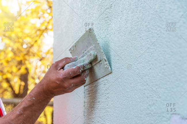 Application Of Facade Plaster outdoor.