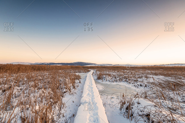 Rural winter landscape. Sunrise over snowy road.