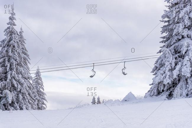 Ski lift against sky. Bulgaria ski resort.