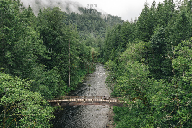 A young couple enjoys a hike on a bridge in the Pacific Northwest.
