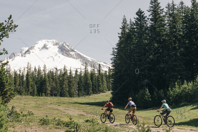 Three female friends mountain bike on a trail at Mt. Hood, Oregon.