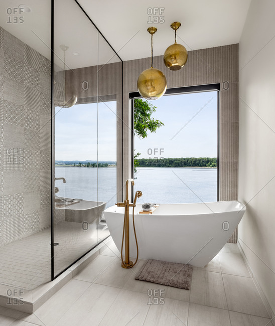 Stunning bathroom in new contemporary style luxury home
