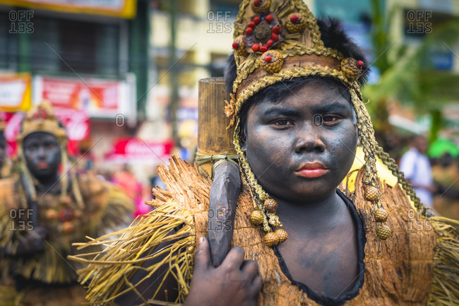 Kalibo, Western Visayas, Philippines - January 17, 2015: Ati warrior in costume, Ati-Atihan Festival, Kalibo, Philippines