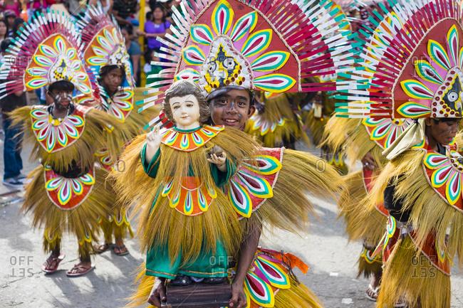 Kalibo, Western Visayas, Philippines - January 18, 2015: Children in costumes, Ati-Atihan Festival, Kalibo, Philippines