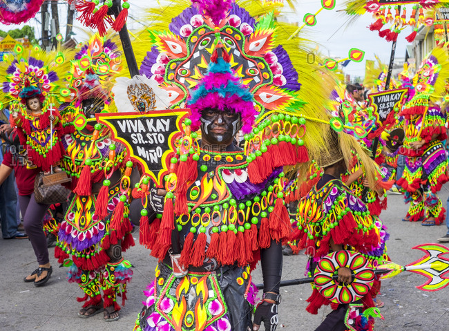 Kalibo, Western Visayas, Philippines - January 18, 2015: Ati warriors in costume, Ati-Atihan Festival, Kalibo, Philippines