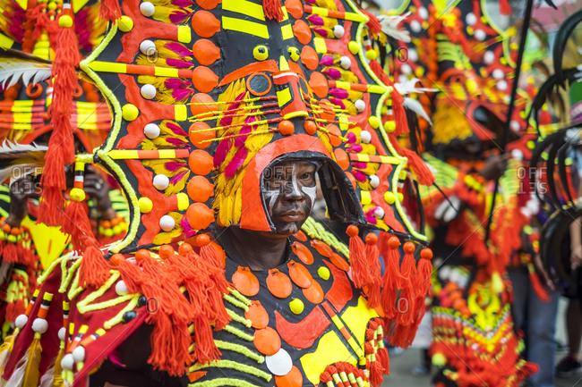 Kalibo, Western Visayas, Philippines - January 18, 2015: Ati warrior in costume, Ati-Atihan Festival, Kalibo, Philippines
